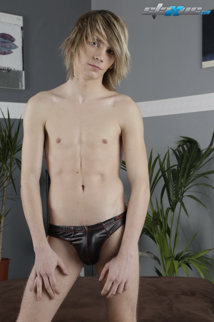 image Blonde twink gets his face cum covered